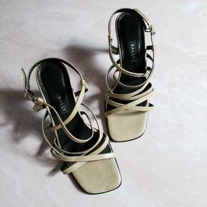 VTG Bally Ivory Square toe heel sandals Sz 7